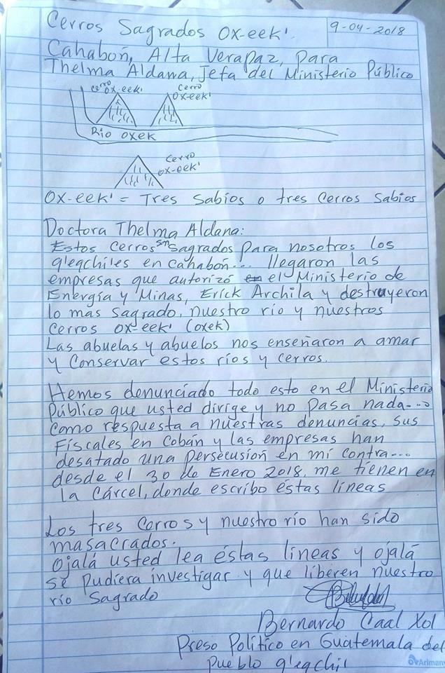 Carta a thelma aldana de bernardo caal