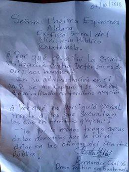 Denuncia Bernardo Caal
